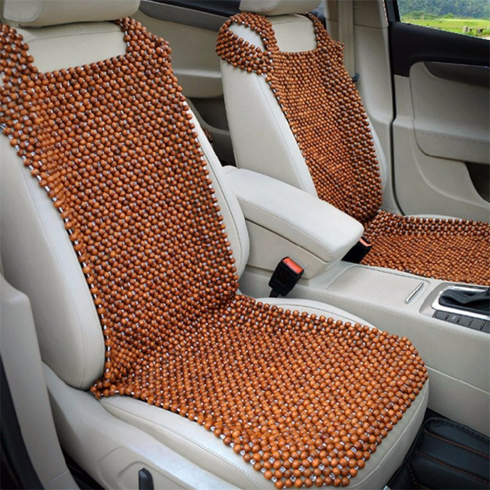 Natural Car Wooden Bead Cushion Car Summer Maple Wooden Bead Seat Cushion Summer Mat Back Massage Pad Single Seat Cover pillowcase classic style wave pattern car comfy back cushion cover