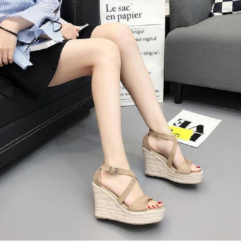 2017 New Sexy Open toe Weave Patch Color Wedges Gladiator Sandals Women High Heels Platform Sandals Summer Women's Shoes Woman phyanic 2017 gladiator sandals gold silver shoes woman summer platform wedges glitters creepers casual women shoes phy3323