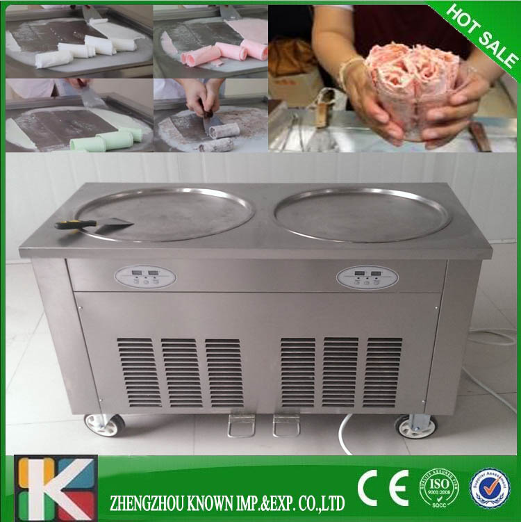 Professional durable 2 pan and double pan stir fry ice cream machineProfessional durable 2 pan and double pan stir fry ice cream machine