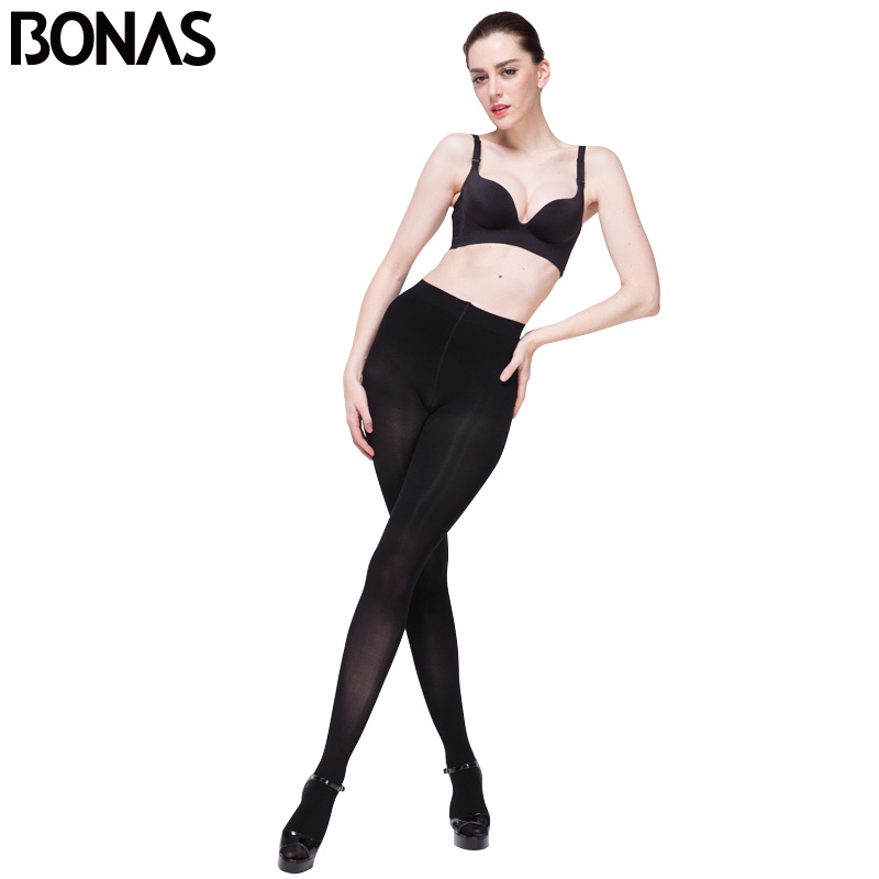 8a9d1d43dde9f BONAS 120D Opaque Tights Women Autumn Sexy Velvet Solid Color Pantyhose  Women Slim Warm Tights Female Elasticity Spandex Black