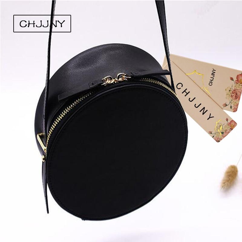 1f0537e27 Chjjny corea del estilo simple de cuero genuino personalizada vintage  mujeres Messenger Bolsos Bolso circular