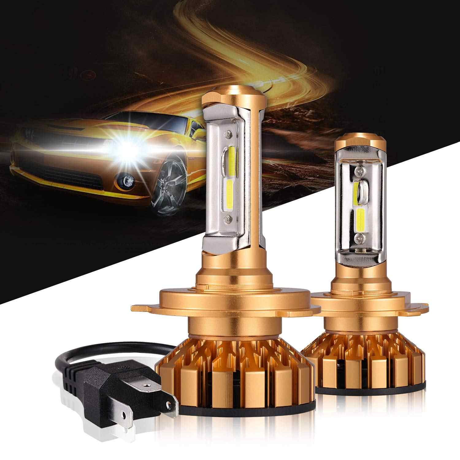 H1 H3 H7 9006 9005 9012 H4 LED Headlight Bulbs 50W 10000 Lumens 6000K Xenon White Extremely Bright COB Chips Led Conversion Kit