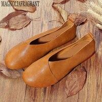 2016 Original Vintage Art Handmade Shoes Brand Genuine Leather Flats Women Shoes Shallow Mouth Casual Fashion