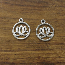 XKXLHJ 10pcs Charms lotus flower 20mm Tibetan Silver Plated Pendants Antique Jewelry Making DIY Handmade Craft