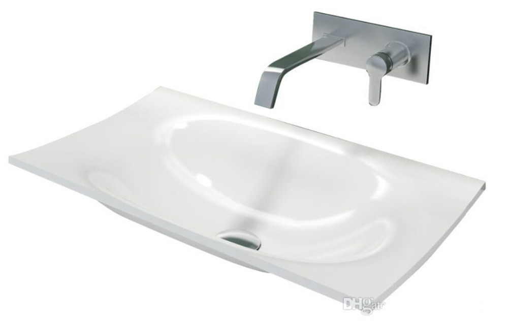 Rectangular bathroom solid surface stone counter top sink fashionable Cloakroom Vanity above wash basin RS38203-577