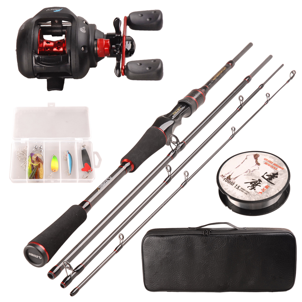 Smart Fishing Set 1.98m Casting Fishing Rod Combo Baitcasting Reel 100m Nylon Line Lure Fishing Box Spoon Bait Fishing Hook Pin bammax fishing lure 1 box metal iron hard bait sequins shore jigging spoon lures fishing connector pin fishing accessories pesca