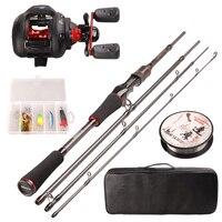 Smart Fishing Set 1.98m Casting Fishing Rod Combo Baitcasting Reel 100m Nylon Line Lure Fishing Box Spoon Bait Fishing Hook Pin