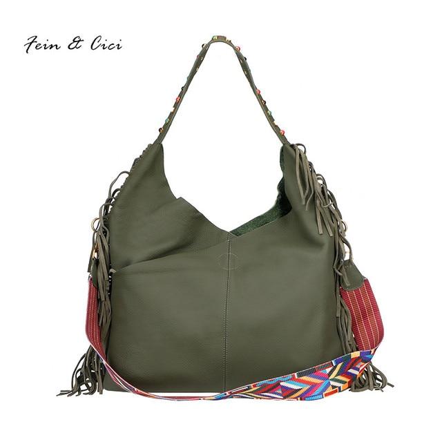 26fa70c681 women large jumbo hobo shoulder bag cowskin genuine leather bag tassel bag  crossbody summer 2017 fashion black green