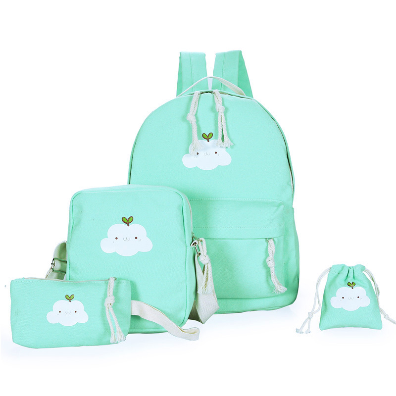 Aequeen 4pcs/sets Women Backpacks Canvas Book Bags Cute Cloud Print Schoolbag For Teenager Girls Composite Bag Casual Mochila #2