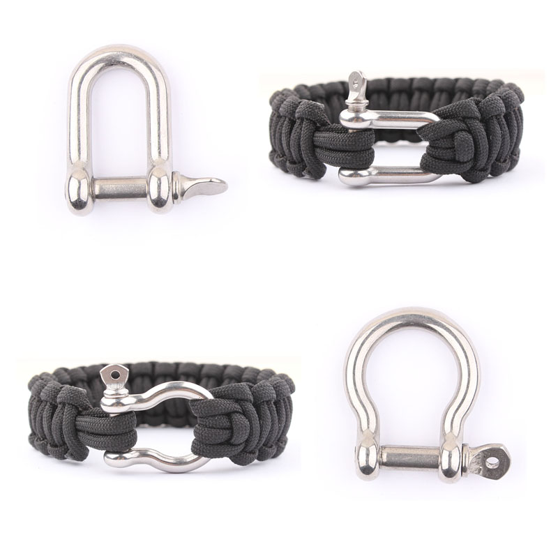 10 Pcs/lot Stainless Steel Adjustable PARACORD PARACHUTE CORD LANYARD BRACELET SHACKLES BUCKLES