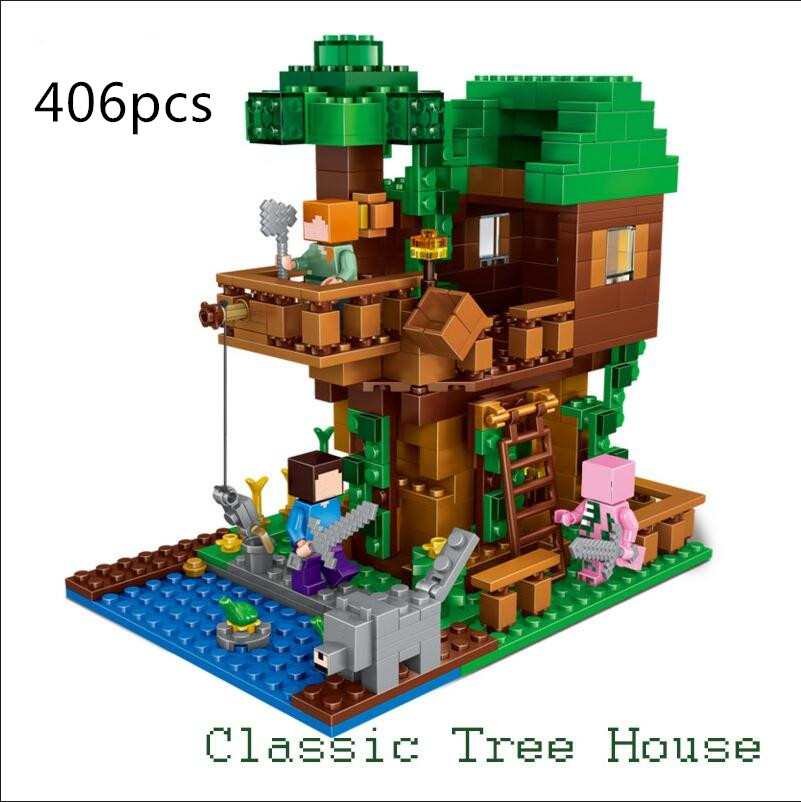 LEPIN 406pcs My World The Jungle Tree House Minecraft anime ation Figures Building Blocks Bricks hot Toy for Children Gift 21125 lepin 18003 my world series the jungle tree house model building blocks set compatible original 21125 mini toys for children