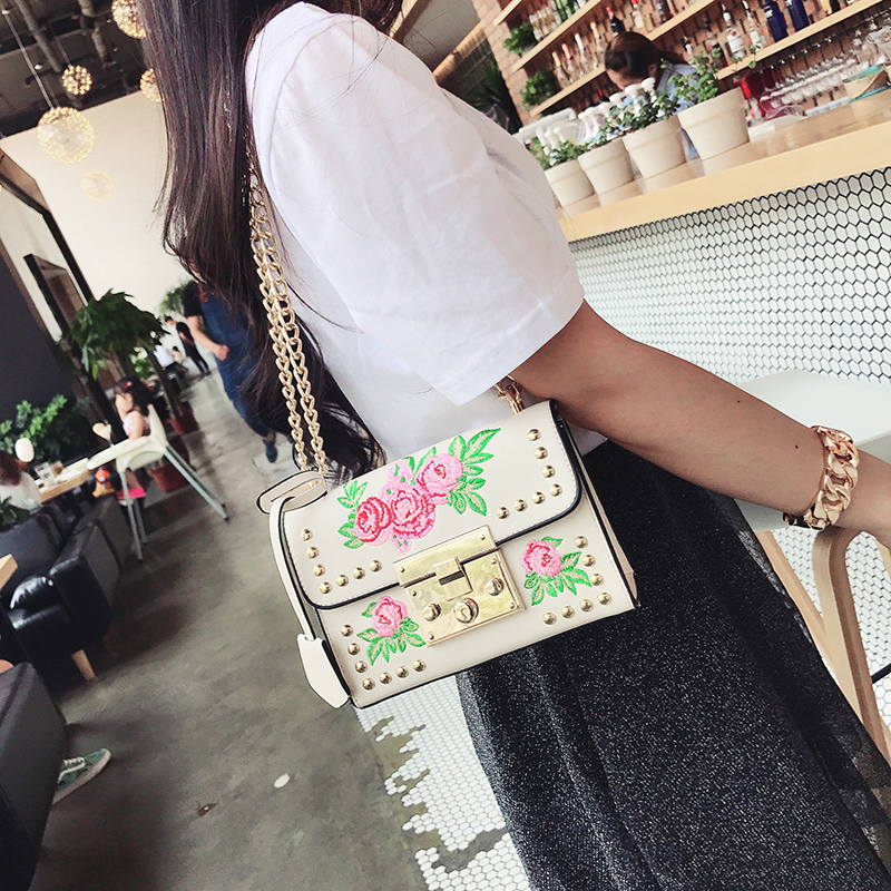 kmffly bordado floral bolsas de Handbag Main Material : High Quality PU Leather