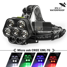 LED Headlamp USB Rechargeable headlight CREE XML-T6 Lantern 20000 lumens LED Flashlight White red green blue Head Lamp 2*18650 usb 15000lm 5 led headlamp 3 cree xml t6 2q5 white blue light headlight head lamp lighting flashlight torch lantern fishing
