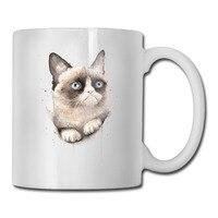 Сердитый-Акварель-cat кружка для кофе картинку вставить дедушка tazas керамический стакан caneca чай Чашки