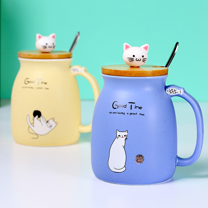 Creative Mug heat resistant cartoon with lid Spoon cup kitten coffee ceramic mugs children cup office Cute Cat Drinkware gift in Mugs from Home Garden