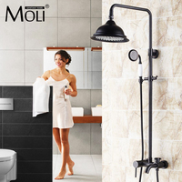 8 Inch antique brass shower faucet in wall shower set bathroom rain shower