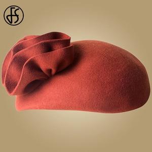 Image 4 - Fs 女性ウールの魅惑的な帽子結婚式の女性のエレガントなティーパーティー正式なヴィンテージピルボックス hatfelt 花 fedoras 帽子ファム