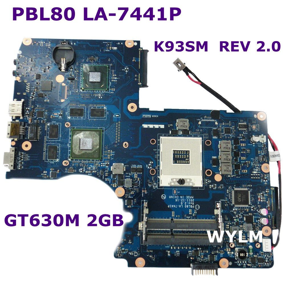 K93SM LA-7441P GT630M 2G N13P-GL2-A1 Motherboard REV 2.0 USB 3.0 For ASUS K93SM X93S X93SM K93SV Laptop mainboard Fully Tested