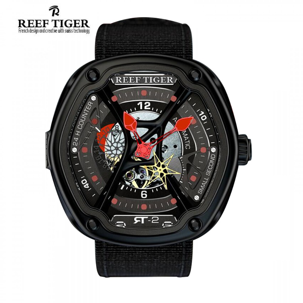 Reef Tiger/RT Luxury Swiss Dive Design Watches Creative Dial Super Luminous Nylon/Leather/Rubber Strap Design Watch RGA90S7