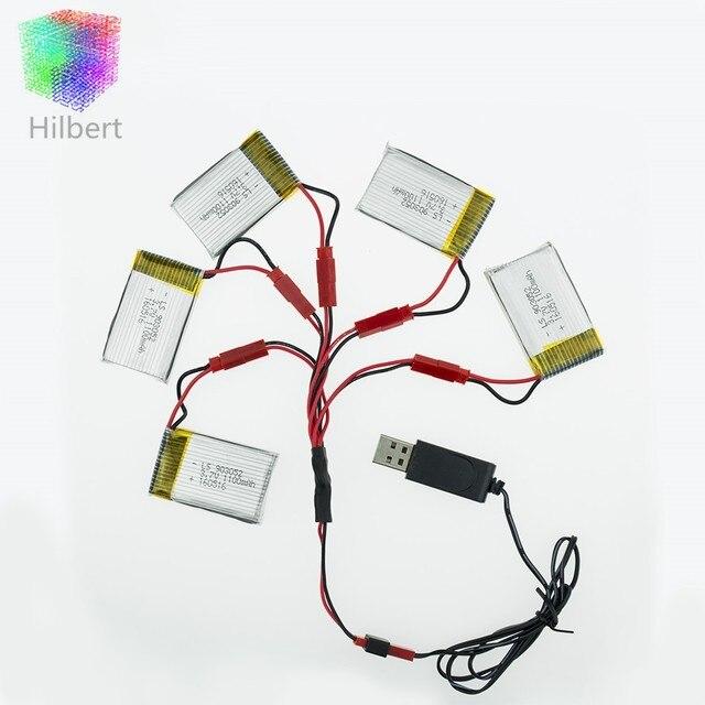 Li-po батарея 3.7 В 1100 мАч и USB зарядное устройство для JJRC H11D H11C HQ898 Quadcopter Drone