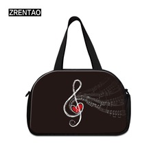 ZRENTAO hand luggage new fashion traveling shoulder bags with shoes pocket 3D print crossbody travel duffle for trip