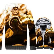 Japanese Anime One Piece 3D Print Hoodie Men Luffy Sweatshirt Winter Thick Sir Crocodile Fleece Cool Jacket The Pirate King Coat