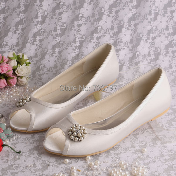 13 ColorsHot Selling Ivory Flat Peep Toe Wedding Ballet Shoes With Round Pearls Flower Free