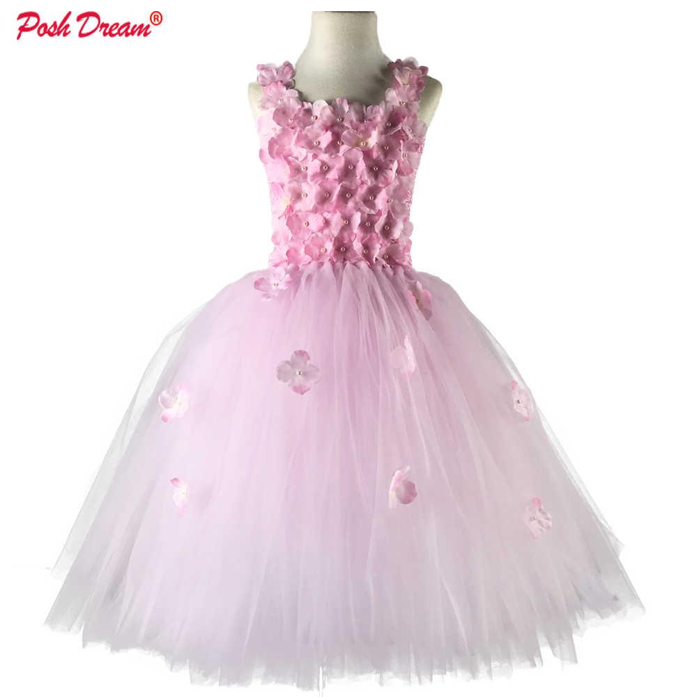 4a8559f4f5 POSH DREAM Light Pink Flower Tutu Dress for Wedding Party Yellow and Aqua  Blue Flower Children
