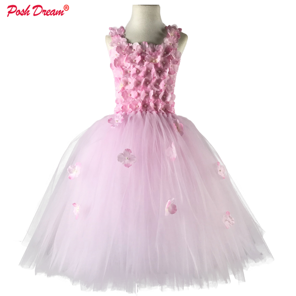POSH DREAM Light Pink Flower Tutu Dress for Wedding Party Yellow and Aqua Blue Flower Children Kids Party Dress Kids Clothes