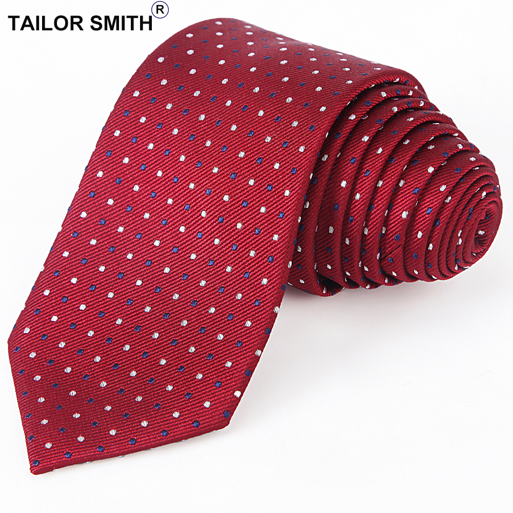 5373d7efd305 Tailor Smith Red Polka Dot Designer Necktie Luxury Pure Silk Jacquard Tie  Formal Business Wedding Suit Accessory Mens Cravat