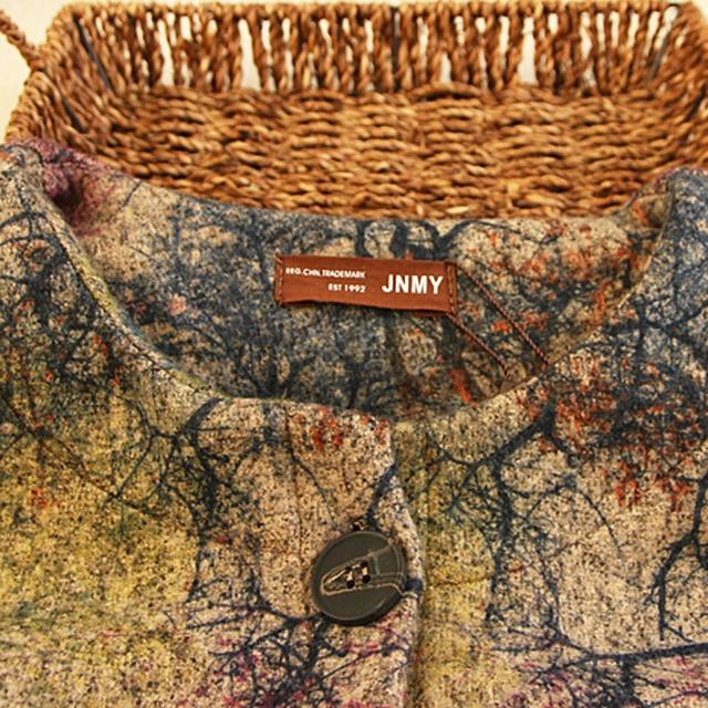 Women Vintage Woolen Print Trench Coat 2