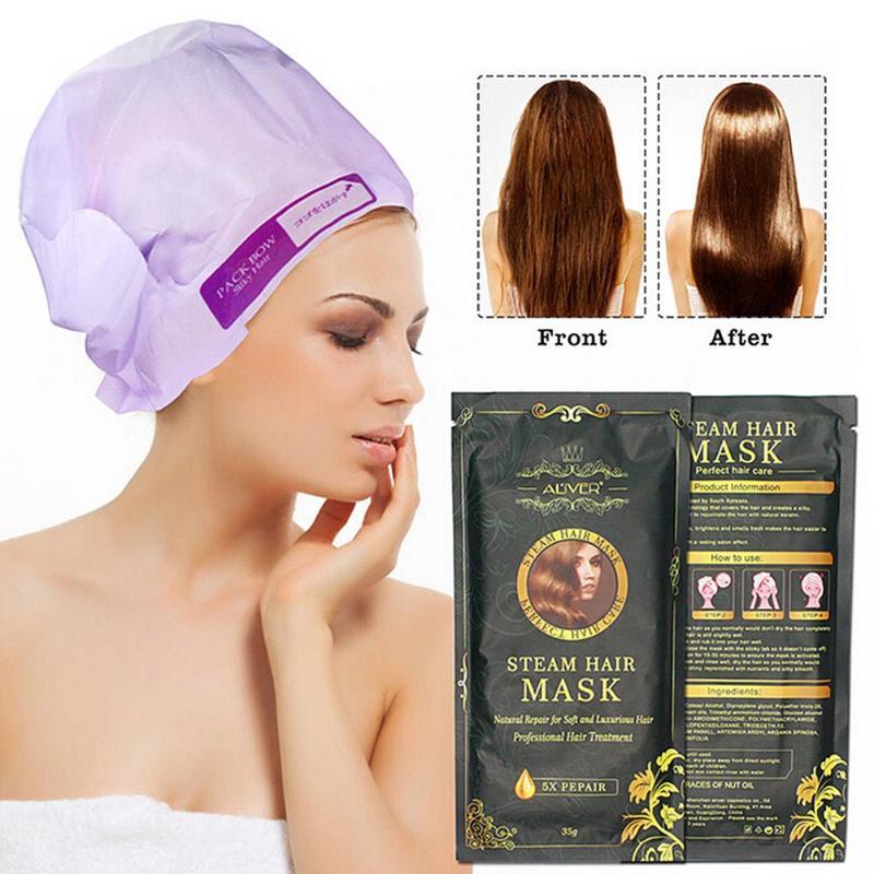 Aliver Automatic Heating Steam Hair Mask Moisturizing Nourish Keratin Argan Oil Treatment Practical Hair Care Mask Tool Hot