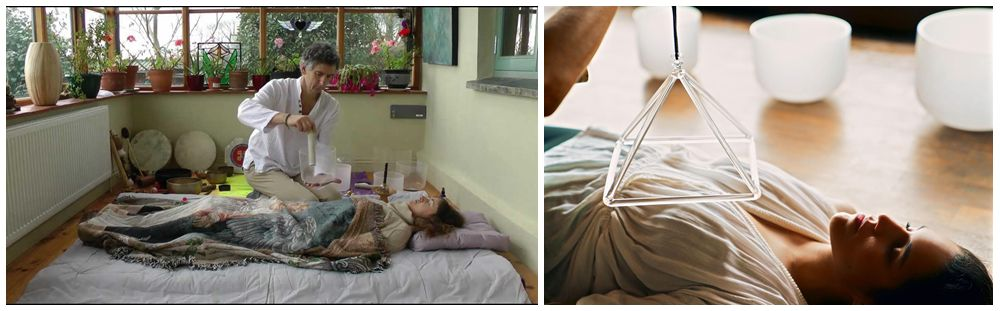 Thérapie par les bols chantants en cristal sonothérapie