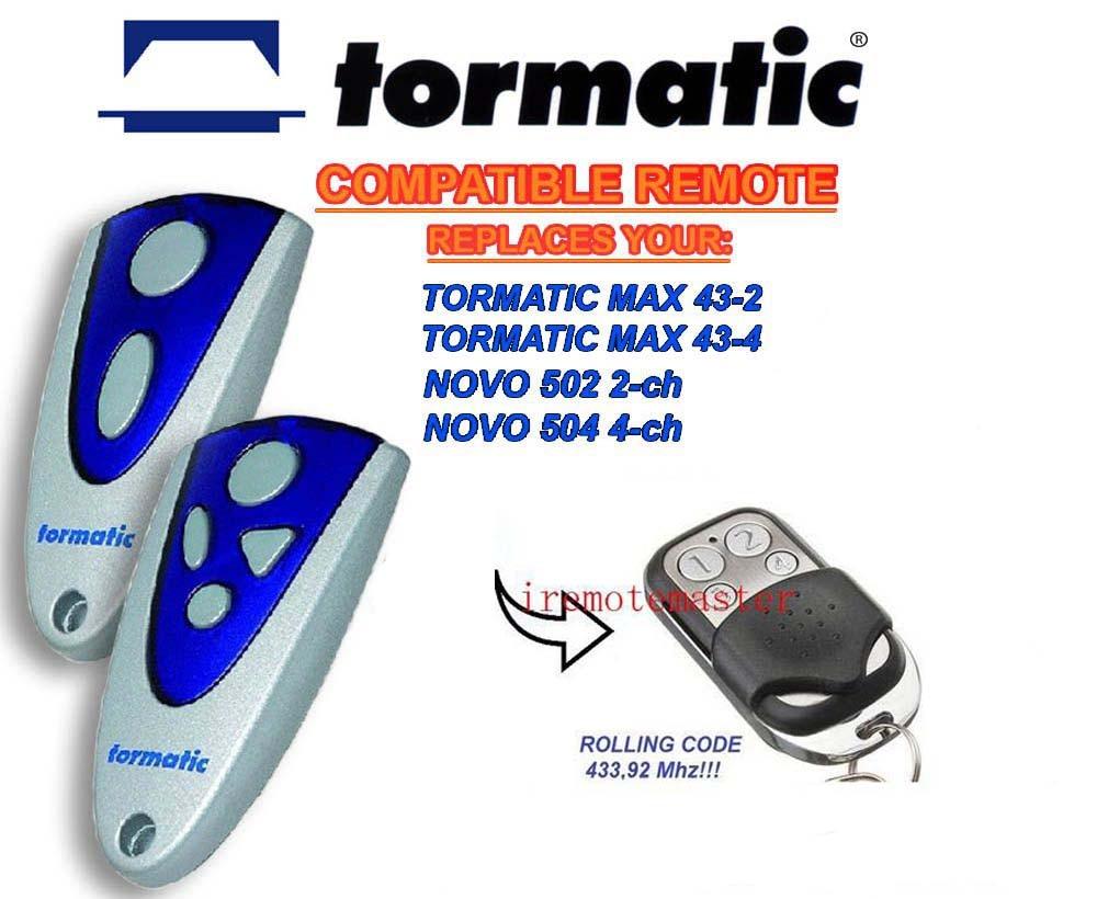 все цены на TORMATIC MAX 43-2,MAX 43-4,NOVO 502 2-CH,NOVO 504 4-CH replacement remote 433,92mhz онлайн