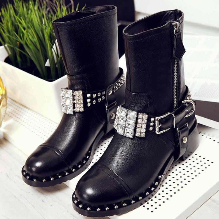 Women Boots Black Color Fashion Women Shoes Metal Decor Belt Embellished Side Zipper Short Booties Crystal Rivets Knight Boots