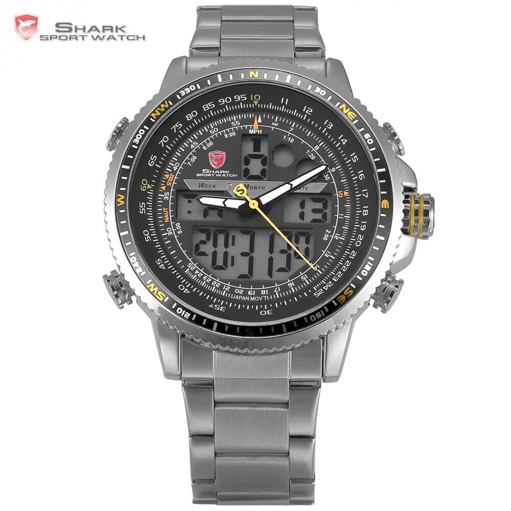 Winghead SHARK Sport Watch Luxury LCD Analog Date Alarm Stainless Steel Quartz Running Clock Men Digital Watch / SH327N