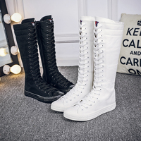 Women Boots Brand Canvas Lace Up Zip Knee High Boots Autumn boots Flat Casual Tall Punk Shoes White Black Plus Szie 35 43 7h39
