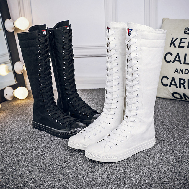 5a06fc372a3 Women Boots Brand Canvas Lace Up Zip Knee High Boots Autumn boots Flat  Casual Tall Punk Shoes White Black Plus Szie 35-43 7h39
