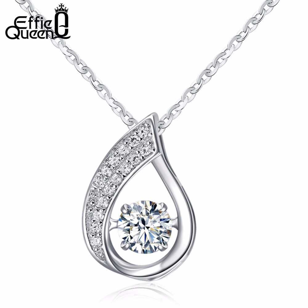 Effie Queen New Flickering Zircon Design 925 Solid Sterling Silver Ladies Pendant Necklaces Jewelry Wholesale BN41