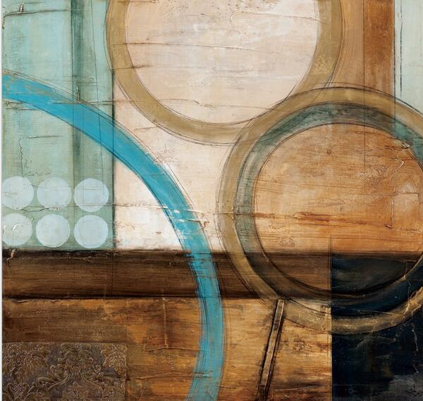 Blue and brown circles modern abstract oil painting canvas for Blue and brown wall art