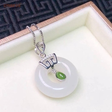 Certified Natural Hetian Jade Inlaid 925 Sterling Silver Lucky Peace Buckle Pendant White High Quality Wonderful Gifts