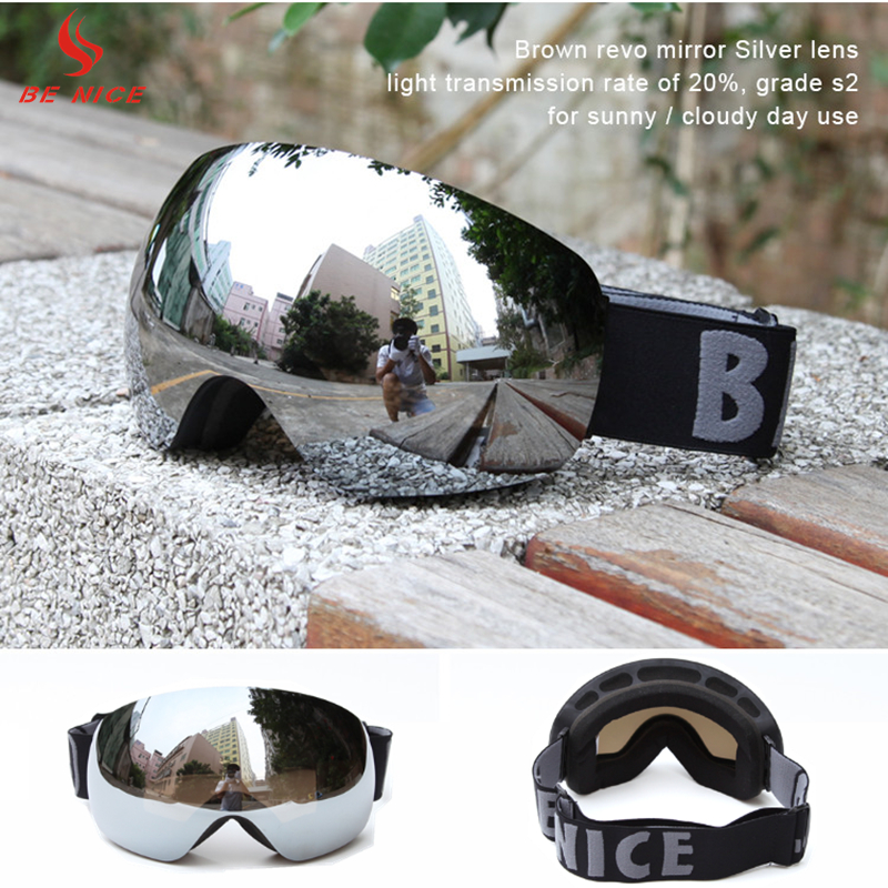 2017 Benice New Coming Design Full Face Snowboard Googles Windproof UV400 Snowmobile Motorcycle Ski Goggles 20pcs SN-4500