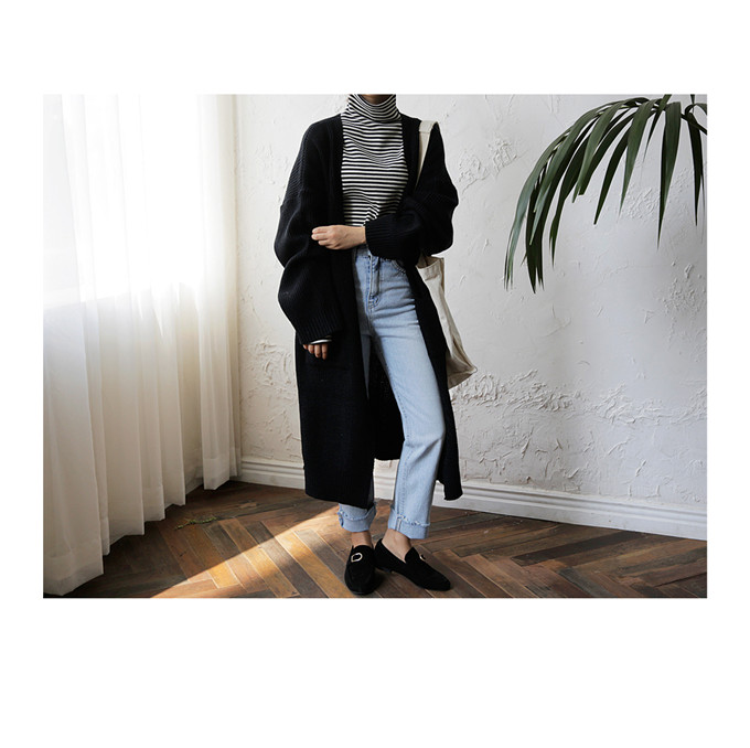 DICLOUD Fashion Long Cardigan Women 19 Fashion Harajuku Loose Knit Sweater Women Casual Black Oversized Jacket Coat Autumn 9