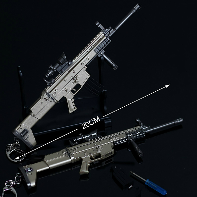 Sof combat Rifle 1PCS SCAR-L 20 centimeters alloy Metal clips arms Mini Diecast Toy gun Collection for hang Jsuny toy