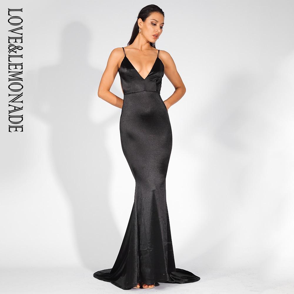 Love&Lemonade Deep V-Neck Open Back Slim Long Dress LM81222BLACK