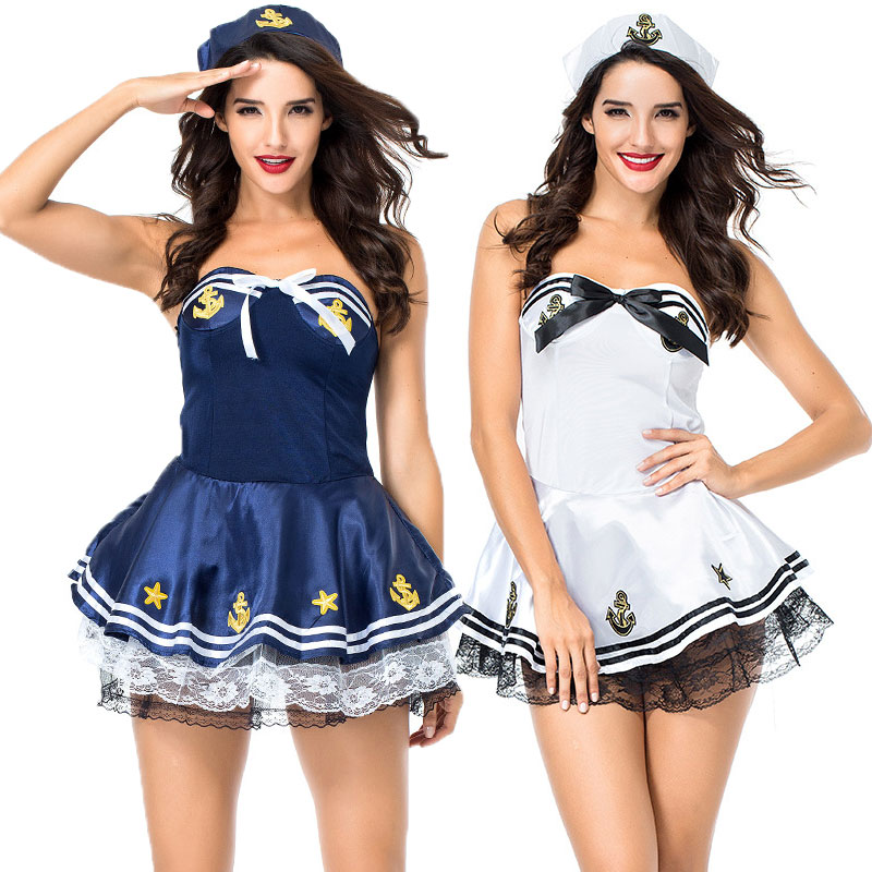 Umorden White Blue Sexy Sailor Costume for Women Marine Navy Uniform Suit Fantasia Halloween Carnival Mardi Gras Fancy Dress