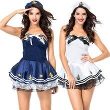Umorden White Blue Sexy Sailor Costume for Women Marine Navy Uniform Suit Fantasia Halloween Carnival Mardi Gras Fancy Dress
