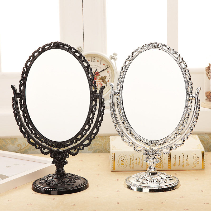 Environmental ABS Vintage Makeup Mirror Desktop Rotatable Mirror with Butterfly Rose Vines Decor Tool Promotion Price