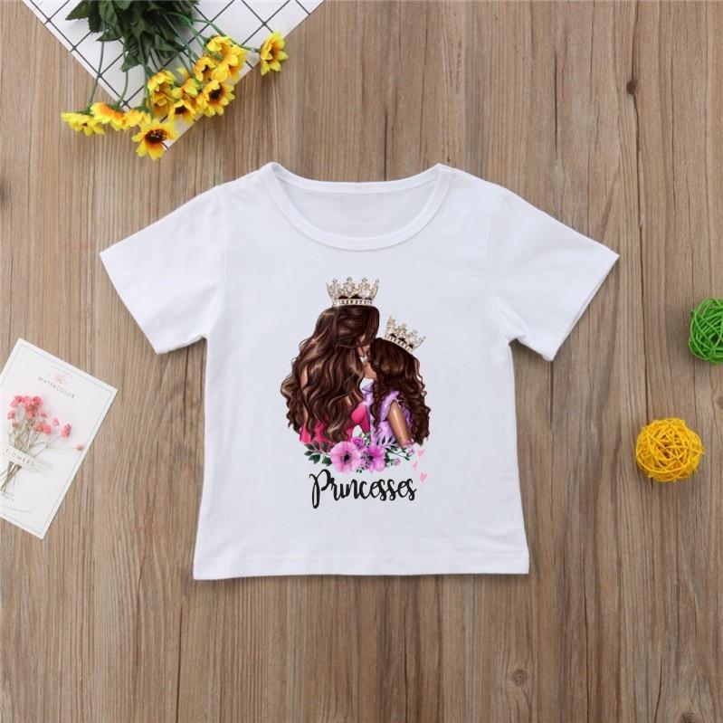 Новая семейная футболка с принтом Одежда «Мама и я» Семейные комплекты с короткими рукавами QT-1924