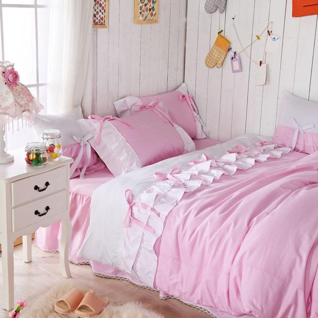 Romantic Pink Queen Comforter Set Korean Pink Falbala Ruffle Fairy